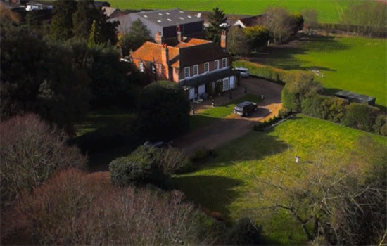 beautiful house photographed by drone